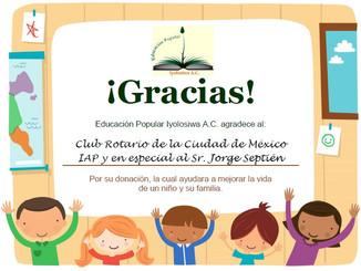 Agradecimiento al Club Rotario de la Ciudad de México IAP