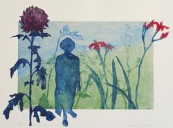 Seurustelua kukkien kanssa, 50 x 40 cm, 2005 NONY