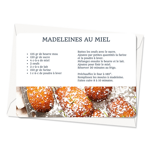 Carte postale - Recette Madeleines