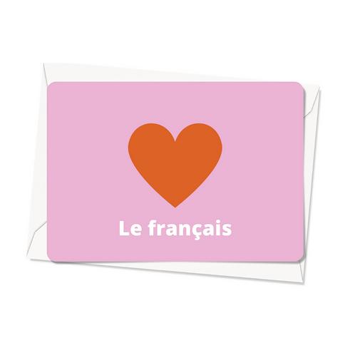 Carte postale - J'aime le français - rose