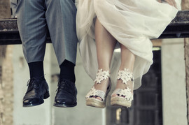 Detail of the feet of the groom and the