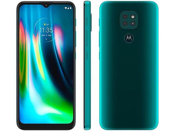 """Smartphone Motorola Moto G9 Play 64GB Verde - Turquesa 4GB RAM 6,5"""" Câm. Tripla"""