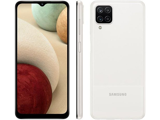 "Smartphone Samsung Galaxy A12 64GB Branco 4G - Octa-Core 4GB RAM 6,5"" Câm. Quádr"