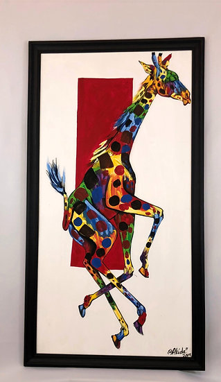 """Colorful Giraffe in Red Background"""