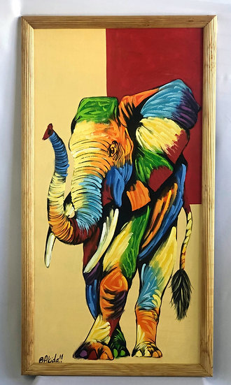 """Colorful Elephant with Trunk Up"""