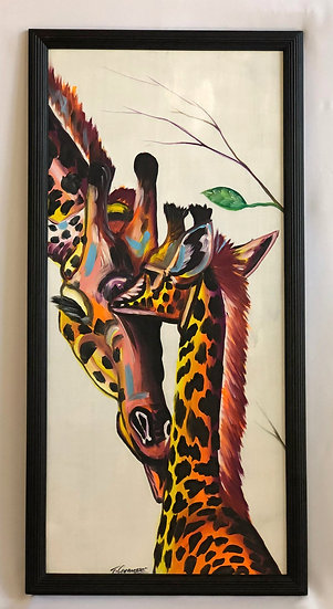 """Colorful Mother and Child Giraffes"""