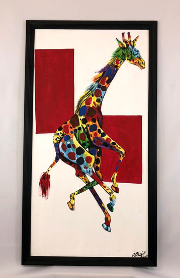 """""""Colorful Giraffe in Red Background"""""""