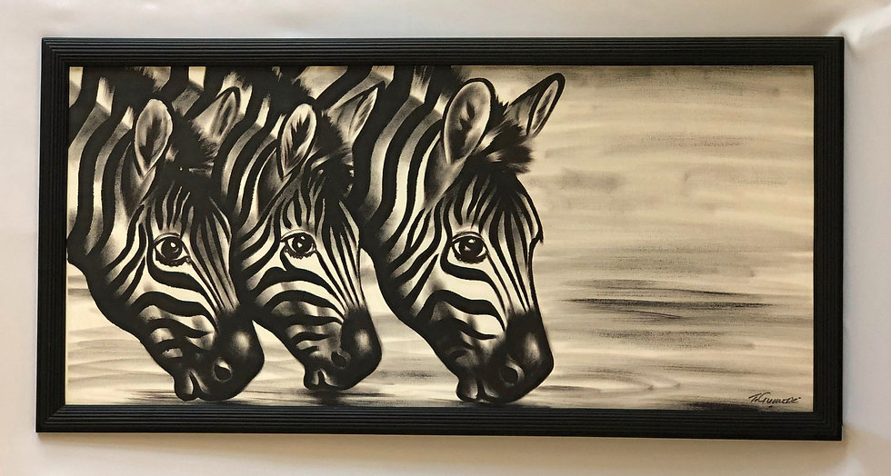 """Three Zebras Drinking Water"""