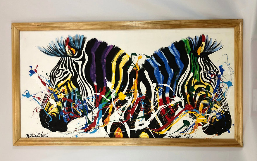 """Colorful Zebras Facing Opposite Sides"""
