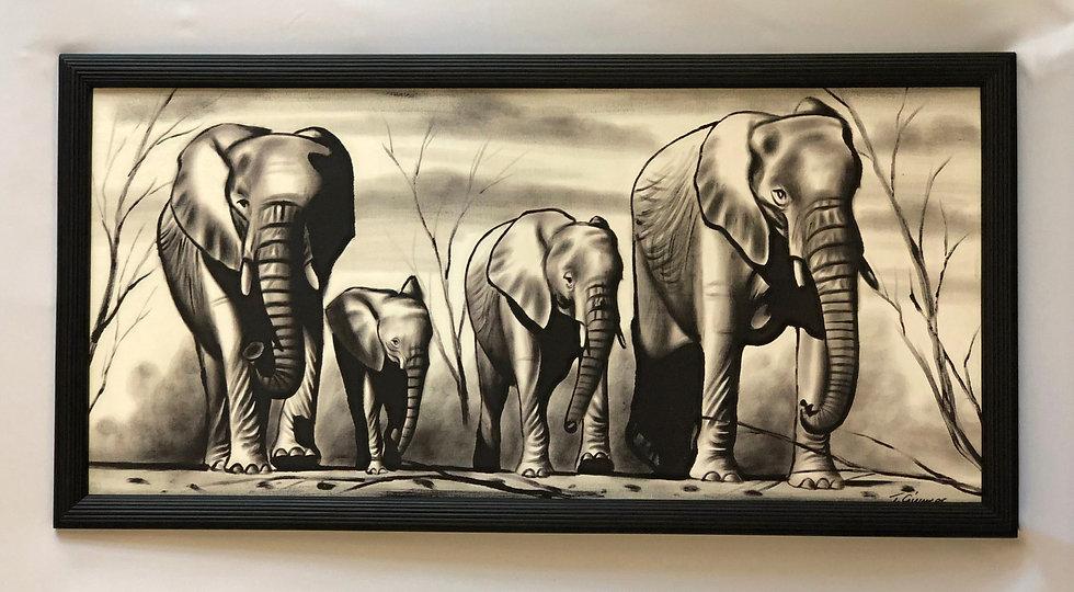 """Black and White Elephant Family"""