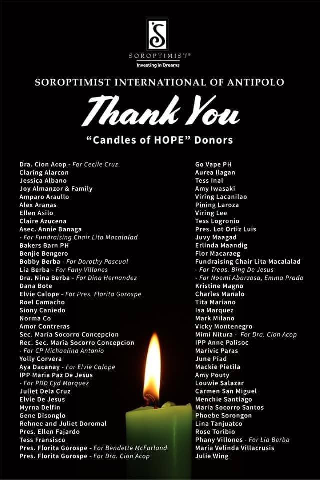 Candle of Hope Donors