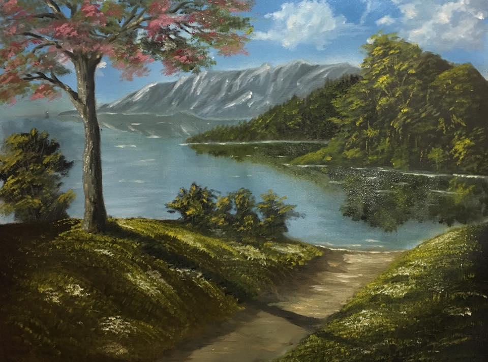 Sakura by the lake