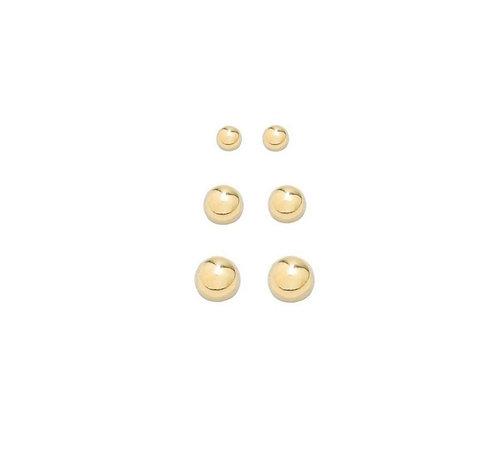 Brinco Trio de Bolas Banhado a Ouro 18k