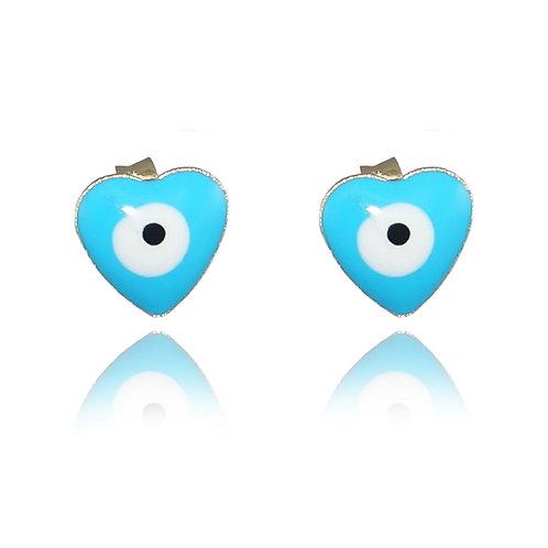 Brinco Olho Grego Coração Azul Claro Banhado a Ouro 18k