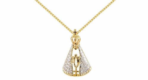Gargantilha Nossa Senhora Manto Cristal Banhada a Ouro 18k