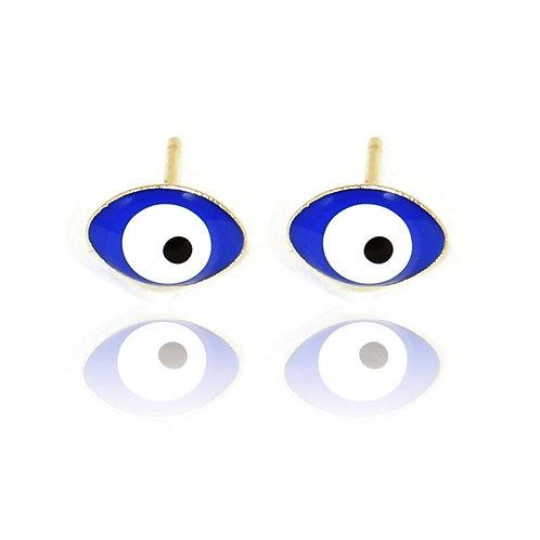 Brinco Olho Grego Azul Escuro Banhado a Ouro 18k