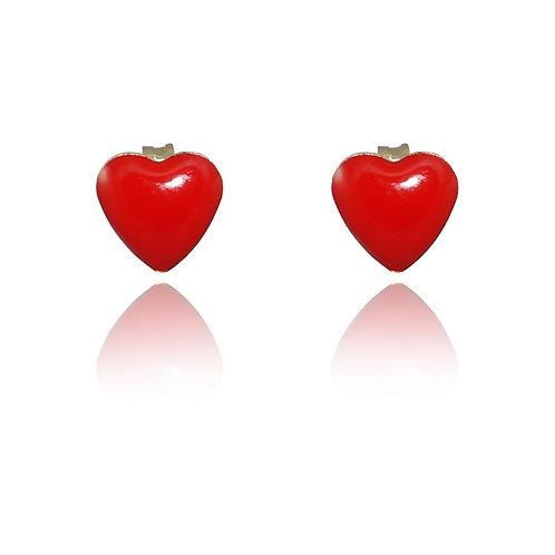 Brinco Coração Resina Vermelho Banhado a Ouro 18k