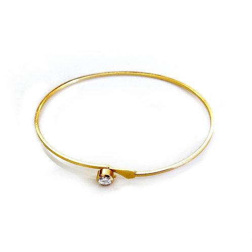 Pulseira Bracelete Ponto de Luz Cristal Folheado a Ouro 18K