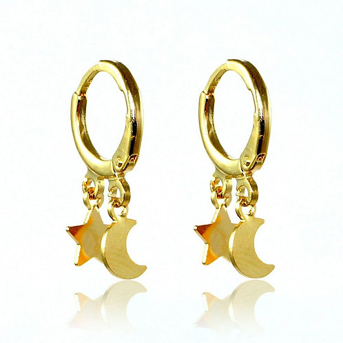 Brinco Argola Lua e Estrela Banhado a Ouro 18k