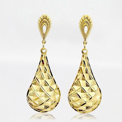 Brinco Gota Detalhe Diamantado Banhado a Ouro 18k