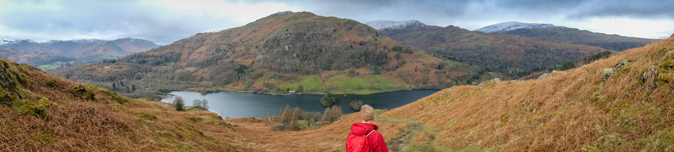 Panormaic view looking down onto Rydal Water from Loughrigg fell