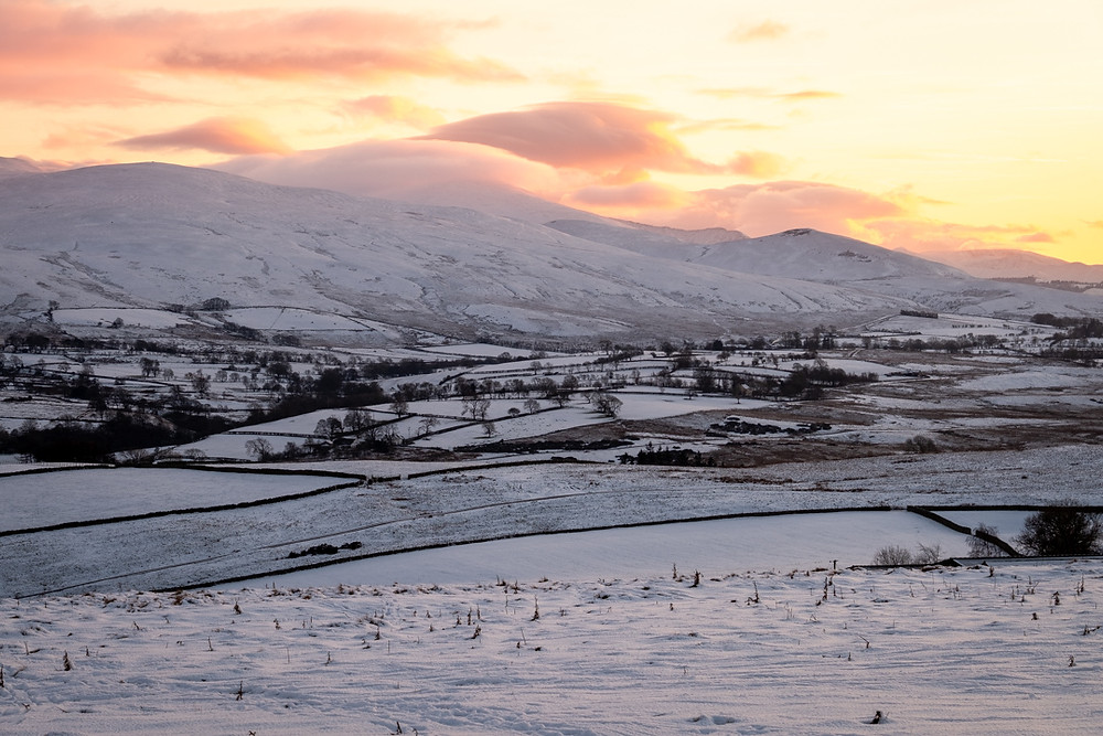 Sunset and snow in the Lake District