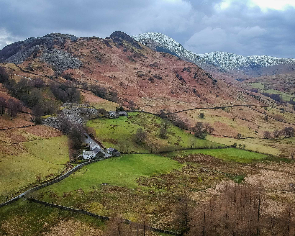 Aerial drone view on Rydal and the Langdales