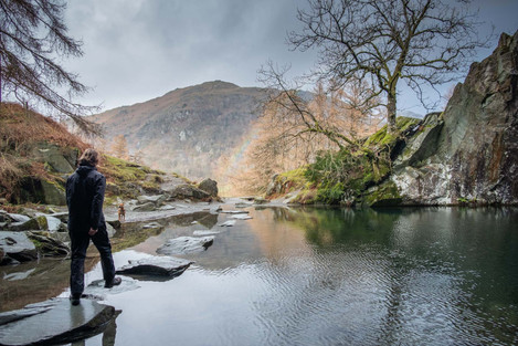 A rainbow at Rydal cave