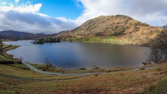A wide angle view of Rydal water