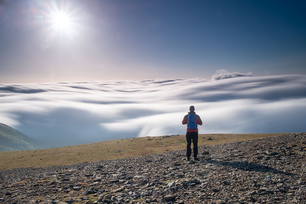 Looking out onto a cloud inversion from the summit of Helvellyn