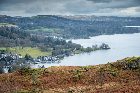 Looking down onto Ambleside and Windermere from Loughrigg fell