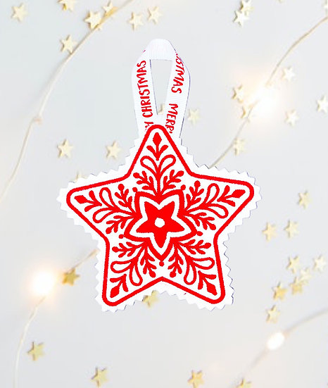 Red & White Star Christmas Tree Decoration