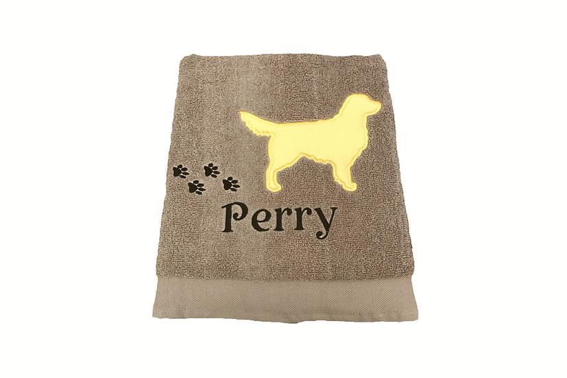 Personalised Golden Retriever- Beige Bath Towel