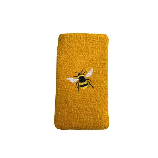 Harris Tweed Yellow Bee Glasses Case