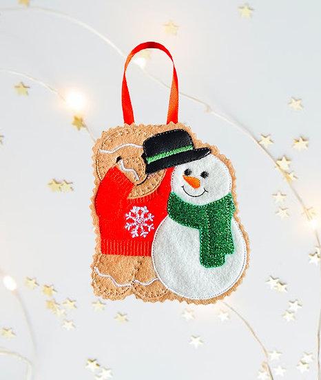 Build a Snowman Gingerbread Decoration