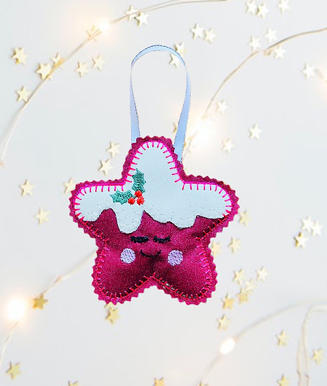 Christmas Kawaii Gingerbread Star Pink Decoration