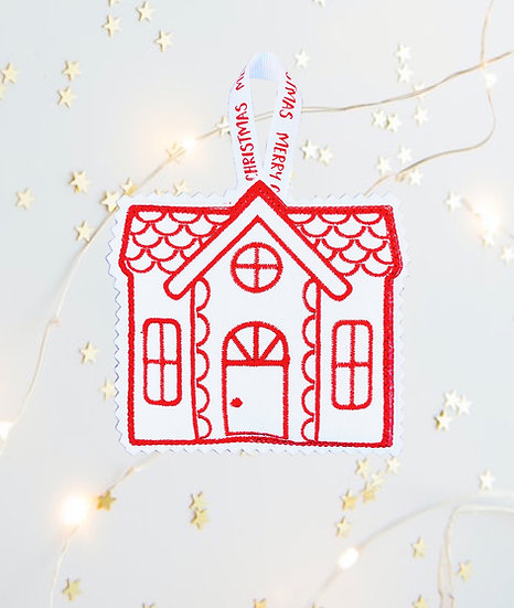 Red & White House Christmas Tree Decoration