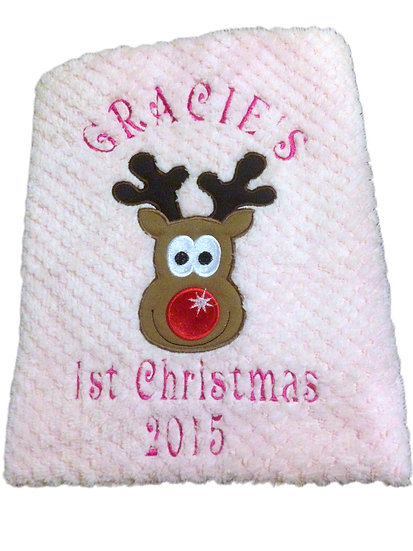 1st Christmas Pink Baby Blanket