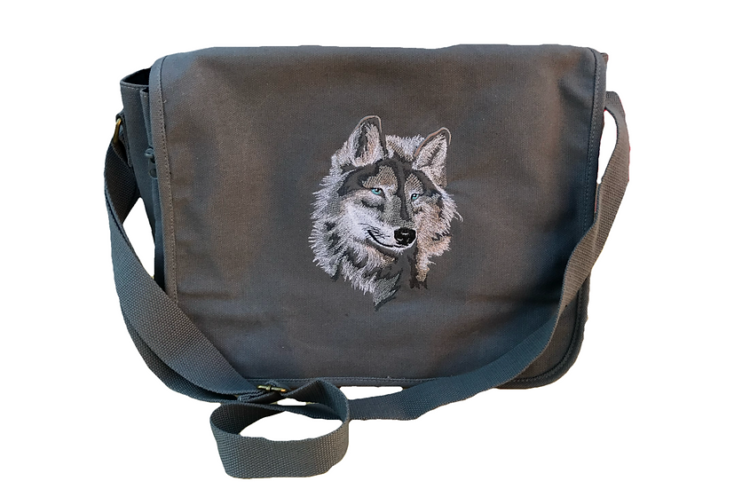 Wolf Grey Cotton Canvas Messenger Bag