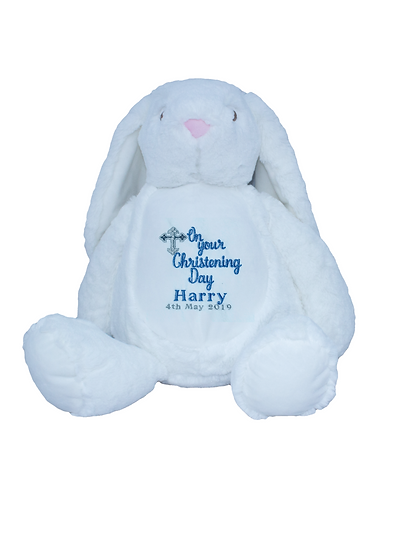 White Bunny Rabbit Personalised Christening / Baptism Soft Toy
