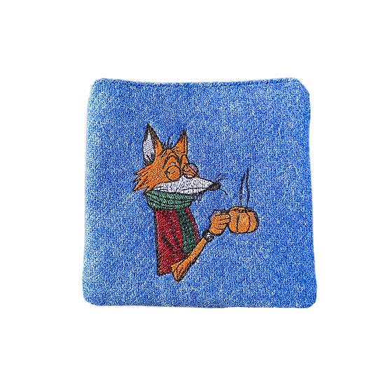 Harris Tweed Blue Embroidered Mr Fox Purse