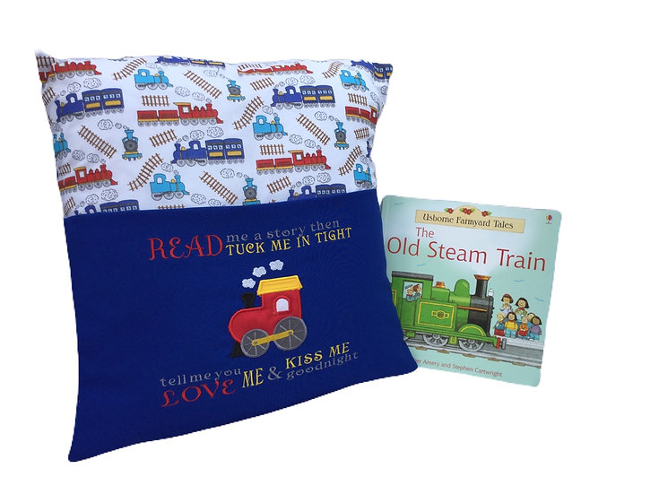 Train Themed Book Cushion