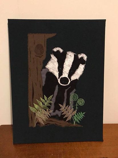 Embroidered Badger Large Canvas Wall Art
