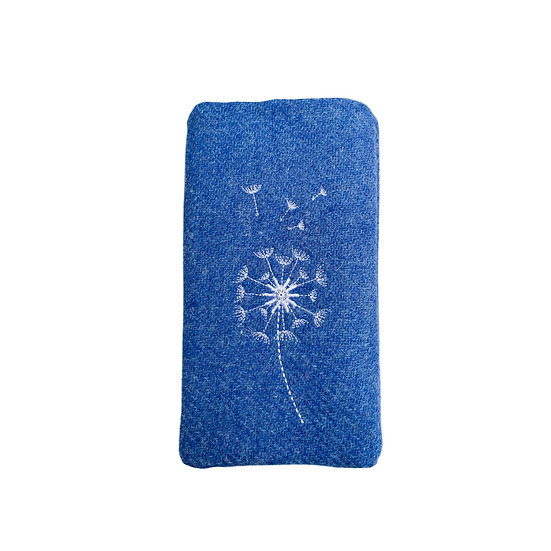Harris Tweed Blue Embroidered Dandelion Glasses Case
