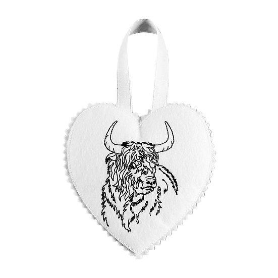 Highland Cow Felt Heart Decoration