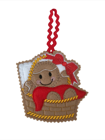 Baby  Basket Gingerbread Decoration