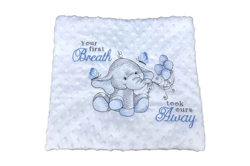 Blue Elephant White Sensory Baby Blanket- your 1st breath took ours away