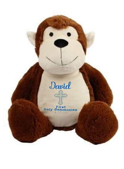 Monkey Personalised Christening / Baptism Soft Toy