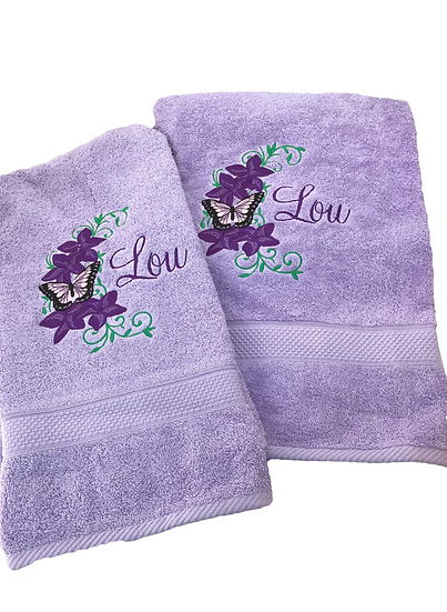 Personalized Towels, Personalised gift, Gift for her, Gift for mum, Purple towel