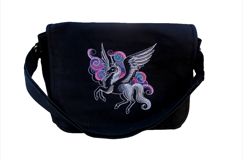 Pegasus / Unicorn Cotton Canvas Messenger Bag
